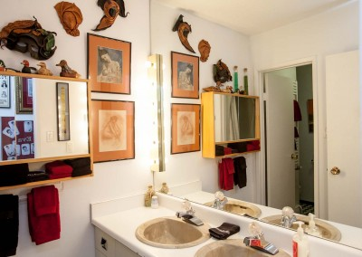 Double sinks in Red Room washroom at Hidden-Valley-bed-and-breakfast