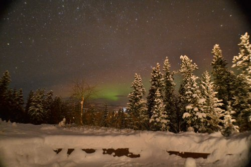 Northern Lights at dusk at Whitehorse bed & breakfast