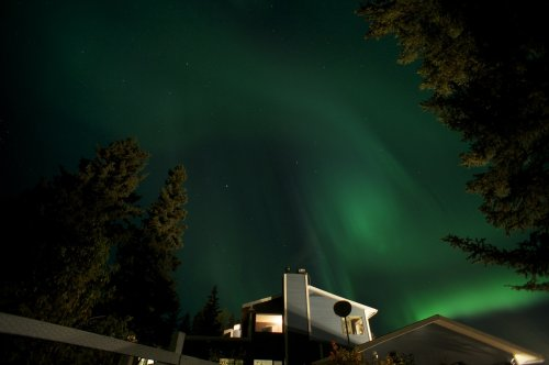 Auroa Borealis over the House at Hidden Valley B&B in Whitehorse, Yukon