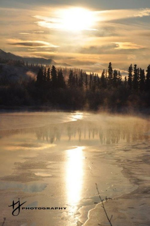 Winter Sunset in Whitehorse, Yukon, Canada
