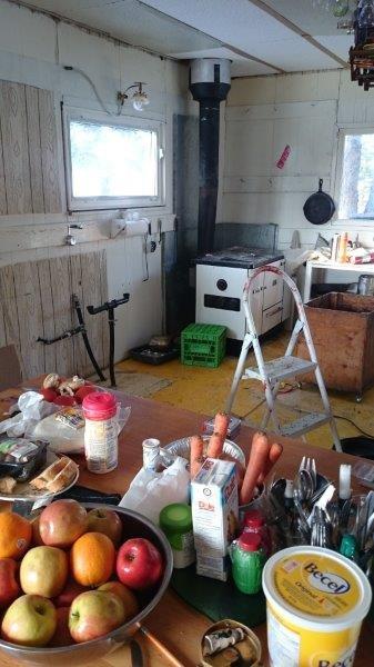 Winter cabin interior