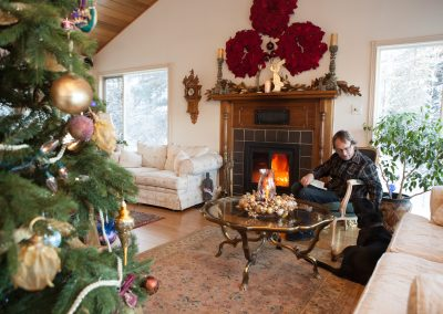 Relax by the fire at Hidden Valley B&B