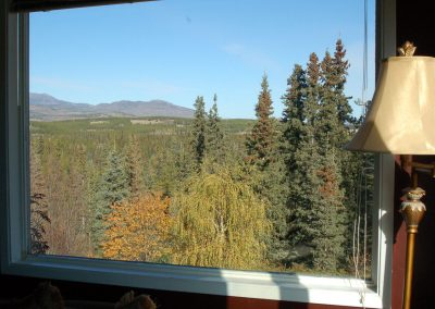 cappuccino suite, view from north window, hidden valley bb, yukon