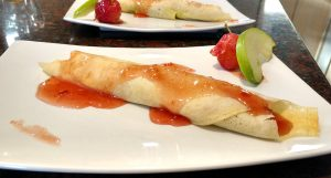 Curry Crabapple Crepe, Breakfast Starter, Hidden Valley Bed and Breakfast, Yukon