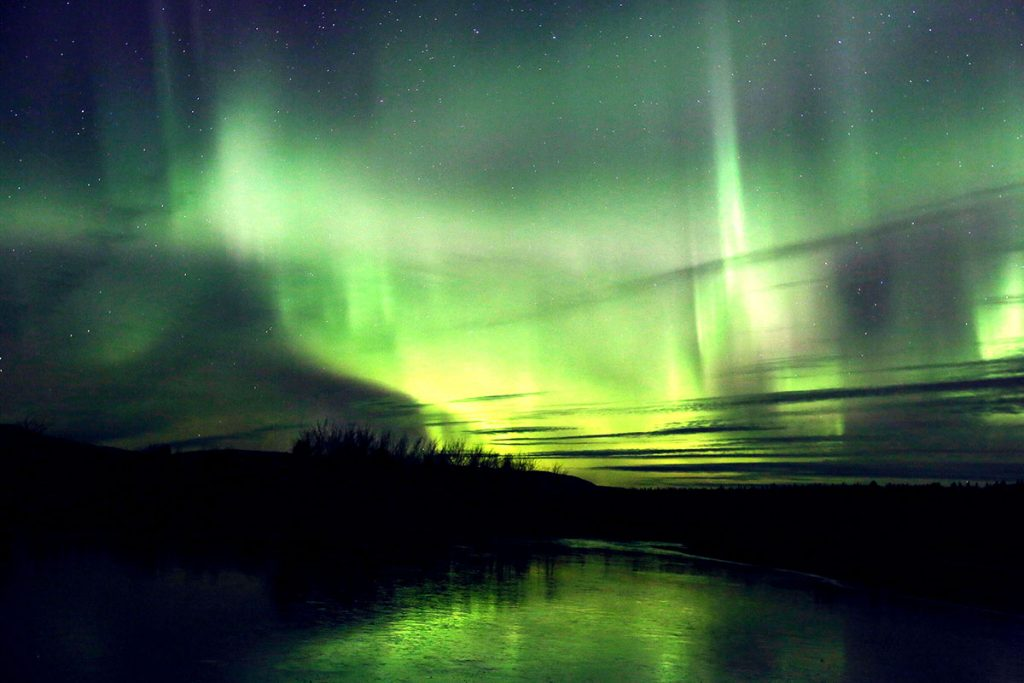 Guest, Song Ci, shot of Aurora over Lake Labarge, Whitehorse, Yukon