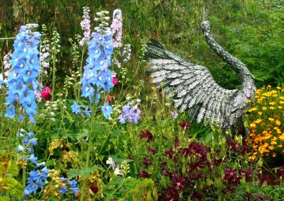 magnificent crane sculpture, serenity garden, whitehorse bed and breakfast, hidden valley, yukon