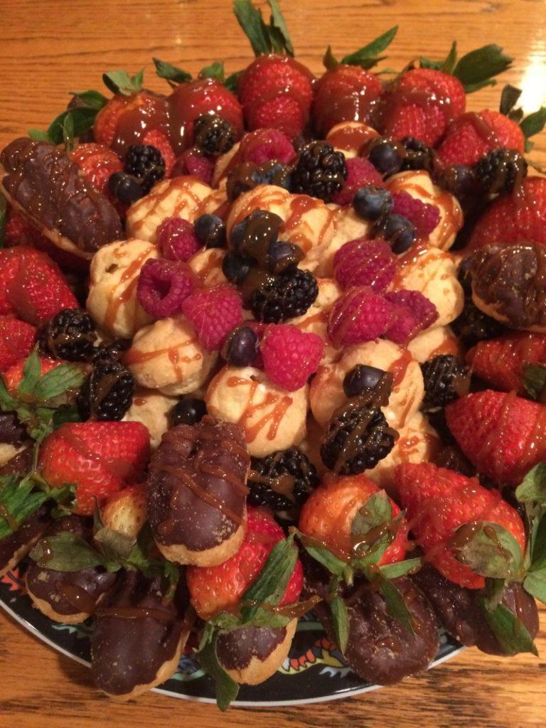 Fruit & cream puff dessert at Hidden Valley B&B