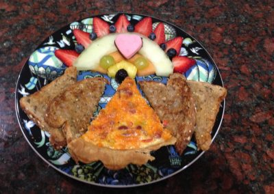 Quiche, Toast & Fruit