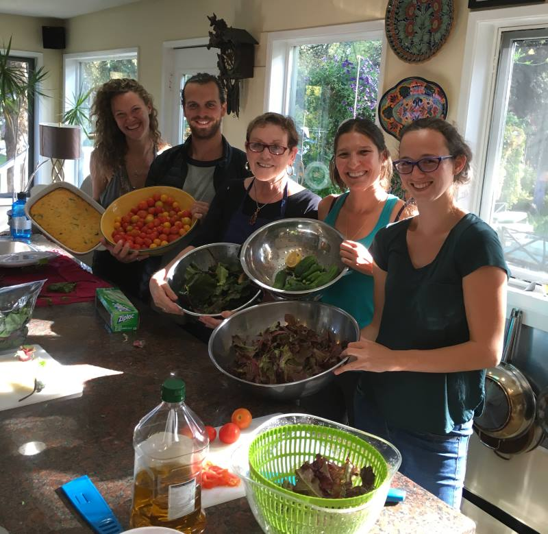 Friends and Family Helping with the Vegetable Harvest