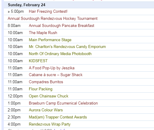 Sunday February 24 Events - Yukon Sourdough Rendezvous